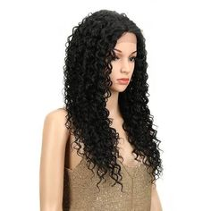 High quality lace front wig black wave l Wig Styles, Curly Hair Styles, Human Lace Wigs, How To Wear A Wig, Synthetic Lace Wigs, Bouncy Curls, 360 Lace Wig, Hair Quality, Cosplay