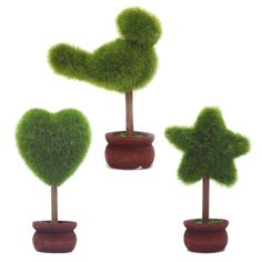 St 3 Styles Can Choose- Home Decoration Black Solid Wood Flower Pots Artificial Plants Topiary Tree Mini Flocking Crafts (NO.1 Green) *** Want additional info? Click on the image.