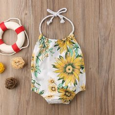 Spring Sunflower Halter Neck Swimsuit from kidspetite.com!  Adorable & affordable baby, toddler & kids clothing. Shop from one of the best providers of children apparel at Kids Petite. FREE Worldwide Shipping to over 230+ countries ✈️  www.kidspetite.com  #girl #baby #swimsuit #beach #swimwear #swim #newborn #infant One Piece Clothing, Pieces Clothing, Ebay Clothing, Kids Clothing, Baby Girl Swimwear, Baby Swimsuit, Hot Dads, Swimsuit Material, More Cute