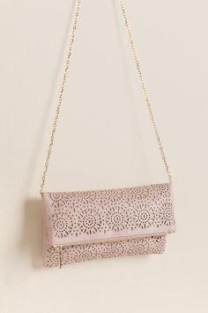 Egypt Perforated Clutch Crossbody- Coral