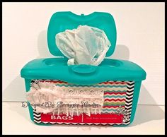 Square 1 Designs - reuse of baby wipes container for plastic bag storage!