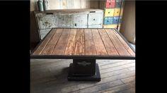 Table à manger,repas,salon loft  Industriel pied de machine outil en fonte et plateau massif ancien  ldt l'or du temps