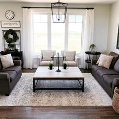 Get inspired by Farmhouse Living Room Design photo by Wayfair. Wayfair lets you find the designer products in the photo and get ideas from thousands of other Farmhouse Living Room Design photos. Home Living Room, Farm House Living Room, Living Room Grey, Couches Living Room, Living Decor, Home And Living, Rugs In Living Room, Country Living Room, Living Room Designs