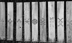 Signs, symbols Ancient latvian signs and symbols. Gauja National Park, Latvia