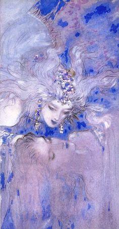 Queen of the Moon - Yoshitaka Amano Alphonse Mucha, Yoshitaka Amano, Drawn Art, Arte Obscura, Final Fantasy Art, Shizuoka, Japanese Artists, Klimt, Pretty Art