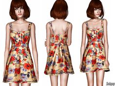 Embellished Floral A-line Dress by zodapop - Sims 3 Downloads CC Caboodle
