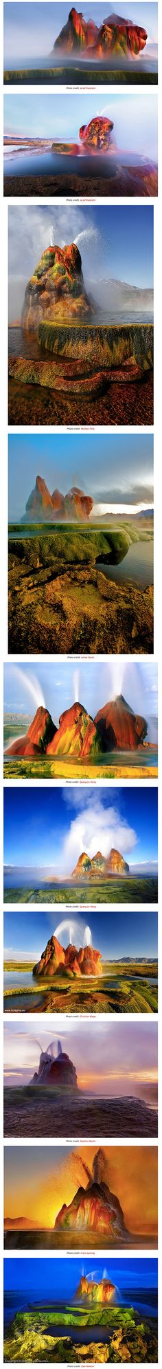 """Fly Geyser (or Fly Ranch Geyser) is a a small geothermal geyser that is located approximately 20 miles north of Gerlach, in Washoe County, Nevada. Called """"one of the most beautiful sights in Nevada,"""" the geyser is a little-known tourist attraction even to Nevada residents."""