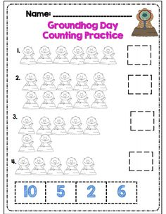 Groundhog day counting practice s 20 pg Common Core aligned packet includes: *counting to 100 practice *making 10 *comparing numbers *color by number (2 pgs) *counting by 5, 2, 1, 10 *number words practice *tallying practice *telling time practice