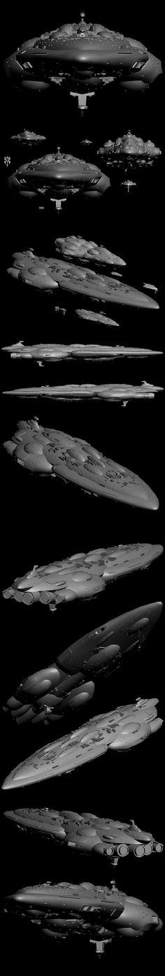 Mon Calamari Mediator-class battlecruiser model (Yuuzhan Vong at War mod for Empire at War) Star Wars Spaceships, Sci Fi Spaceships, Star Wars Concept Art, Star Wars Art, Yuuzhan Vong, Star Force, Star Wars Vehicles, Galactic Republic, Sci Fi Ships