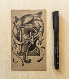 Typography Art, Letter E. Drawing / Ink / Sketch