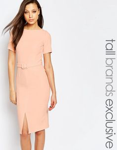 5b3e0263c6 Shop Alter Tall Belted Pencil Dress With Split Front Detail at ASOS.