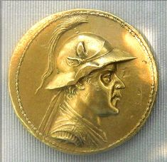 Gold 20-stater of Eucratides I (175–150 BC), the largest gold coin known to have been minted in Antiquity. The coin weighs 169.2 grams, and has a diameter of 58 millimeters. It was originally found in Bukhara, and later acquired by Napoleon III. The Cabinet des Médailles, more formally known as Département des Monnaies, Médailles et Antiques de la Bibliothèque nationale de France, is a department of the Bibliothèque nationale de France in Paris, France.