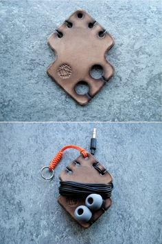 Another neat Simple leather earphone holder. Leather Art, Leather Gifts, Leather Design, Leather Tooling, Leather Jewelry, Leather Wallet, Leather Texture, Leather Material, Leather Fabric