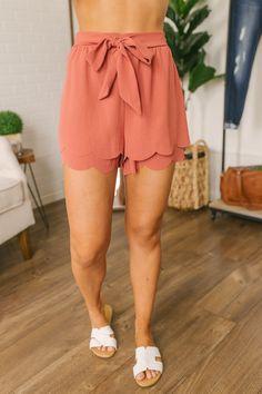 Tie Front Double Scalloped Shorts - Rust Scalloped Shorts Outfit, Scallop Shorts, Short Outfits, Short Dresses, Spring Looks, Hemline, Elastic Waist, Tie, Stylish