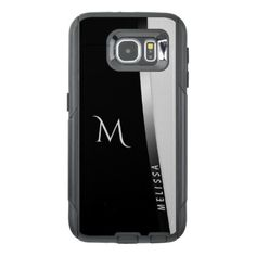 Elegant black white silver name and monogram OtterBox samsung galaxy s6 case - monogram gifts unique custom diy personalize