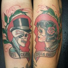 We love to see commitment like this. #inked #Inkedmag #tattoo #tilldeath #douspart #cute #love #idea #marriage #wedding