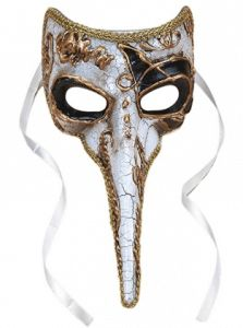 Long-Nosed Black & White Venetian Adult Mask Description: Having a black tie affair? No masquerade is complete without a beautiful mask like this! Perfect for polishing off yo Plague Doctor Mask, Plague Dr, Mens Masquerade Mask, Masquerade Wedding, Masquerade Ball, Nose Mask, Beak Mask, Halloween Costume Accessories, Venice