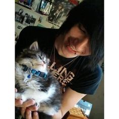 cute scene boy and a cat Emo boys ❤ liked on Polyvore featuring guys, people, anons, boys and pictures