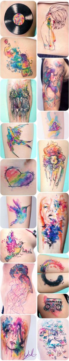 Love the idea of watercolor tattoos. I'm not sure how long it would last, or if it would age well...: