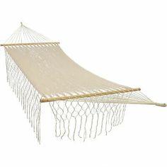 @#! Sunnydaze Natural Handwoven Hammock Bed with Spreader Bars...