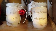 Filz Windlichter mit Text IN der Wolle, nicht auf dem Glas!