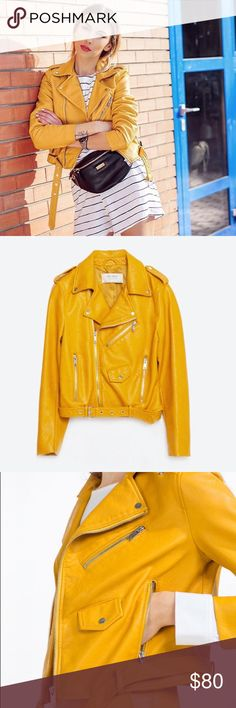 ✨ NWOT Zara Faux Leather Moto Jacket NWOT Yellow moto style faux leather jacket purchased from Zara || Material doesn't feel or appear to cheap || Great pop of color to any outfit! Zara Jackets & Coats