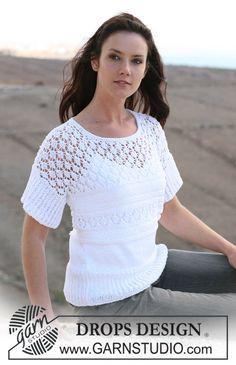 DROPS 107-24 - T-shirt DROPS em ponto rendado e Muskat - Tamanhos S-X XXL - Free pattern by DROPS Design