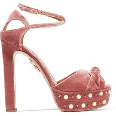 Aquazzura Harlow embellished velvet platform sandals (52.255 RUB) ❤ liked on Polyvore featuring shoes, sandals, heels, aquazzura, high heel shoes, heeled sandals, strappy high heel sandals, strap sandals and platform shoes