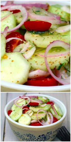 Cucumber & Tomato Salad This classic cucumber salad is so good as a lunchtime companion! MoreThis classic cucumber salad is so good as a lunchtime companion! Cucumber Tomato Salad, Cucumber Recipes, Cucumber Salad Vinegar, Cucumber Salad Dressing, Tomato Salad Recipes, Vegetable Recipes, Healthy Snacks, Healthy Eating, Healthy Recipes