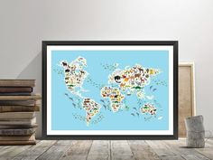Cartoon animal world map for children and kids, Animals from all over the world, white continents and islands on blue background of ocean and sea • Also buy this artwork on wall prints, apparel, stickers, and more.