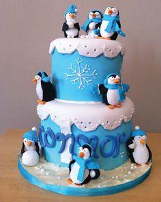 GREAT CAKE! ***ALYSSA AGE 10 ! BIRTHDAY THEME! PENGUINS IN A WINTER WONDERLAND! SNOW SNOW SNOW EVERYWHERE!