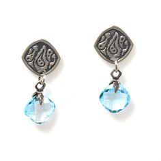 Earrings Silver With Blue Topaz Cushion Cut Drops