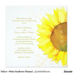Yellow + White Sunflower Themed Monograms Wedding