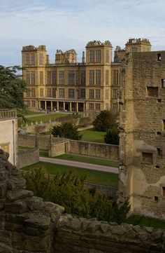 Hardwick Hall seen from the within the ruins of Hardwick Old Hall - Tibshelf, England