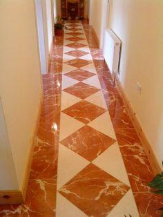 """diamond pattern hallway with border"" Hall Tiles, Tiled Hallway, Entrance Hall, Porcelain Tile, Diamond Pattern, Tiling, Flooring, Rugs, Hallways"
