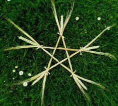 Lammas wheat & Barley Pentagram. Wiccan Altar / wall hanging...