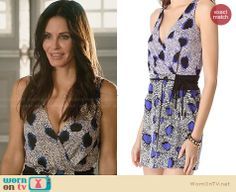 Jules's blue spot printed wrap dress on Cougar Town. Outfit Details: http://wornontv.net/28547 #CougarTown #fashion
