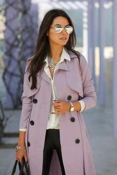 Such a gorgeous lavender trench coat for the upcoming fall season.