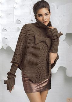 ENGLISH Statement Bow Poncho and Fingerless Gloves Knitting Pattern PDF