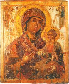 Theotokos Hodegetria. Pskov icon. Early XIV century. Pskov State United Historical, Architectural and Fine Arts Museum-Reserve
