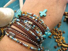 """Boho Chic Endless Leather Triple Wrap Beaded Bracelet with Turquoise Crosses, Toho Beads & Silver Accents....Adjustable....""""FREE SHIPPING"""", $43.00"""