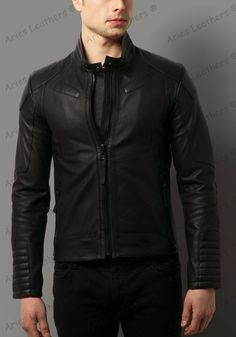 New Men's Genuine Lambskin Leather Jacket Holiday Special Biker Hot Style -TX83 #AriesLeathers #Motorcycle