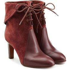 Chloé Suede and Leather Lace-Up Boots (£400) ❤ liked on Polyvore featuring shoes, boots, ankle booties, ankle boots, booties, chloe, red, red lace up boots, leather lace up booties and suede ankle booties