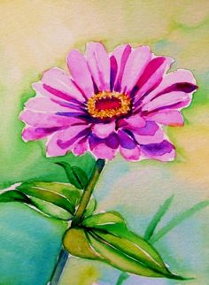 """Zinnia""Watercolor  4x6in, painting by artist Meltem Kilic"