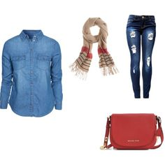 camisa jeans by dany222 on Polyvore featuring moda, New Look, Michael Kors and J.Crew
