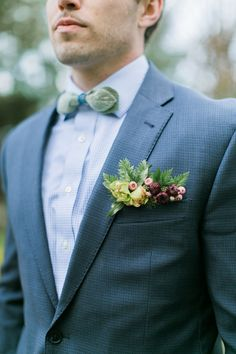 pocket square boutonniere - photo by Emily Wren http://ruffledblog.com/woodland-romance-wedding-inspiration
