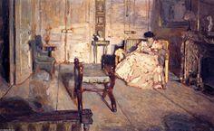 'Le Salon Blanc', huile sur panneau de Edouard Vuillard (1868-1940, France)                                                                                                                                                                                 Plus