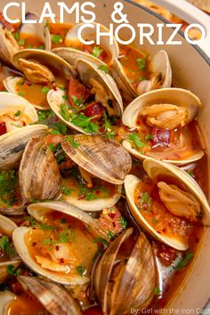 These littleneck clams steamed in white wine, surrounded by aromatics, and rich in umami from chorizo, will be the most flavorful clams you'll eat. The zesty clam and chorizo broth is deliciously soaked up with your favorite bread or pasta. Chorizo Recipes, Shellfish Recipes, Seafood Recipes, Asian Clams Recipe, Kitchen Recipes, Cooking Recipes, Steamed Clams, Taiwanese Cuisine, Gastronomia