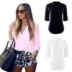 Women's Summer Loose Tops Long Sleeve Shirt Casual Blouse T-shirt Tee