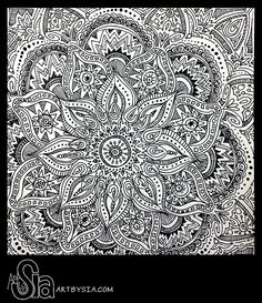 Art by Sia | Zentangle 002 | 2013 | Sharpie on bristol board- (a wonderful indian pattern!!)
